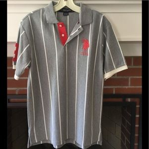 NWOT Boys gray and white striped polo shirt